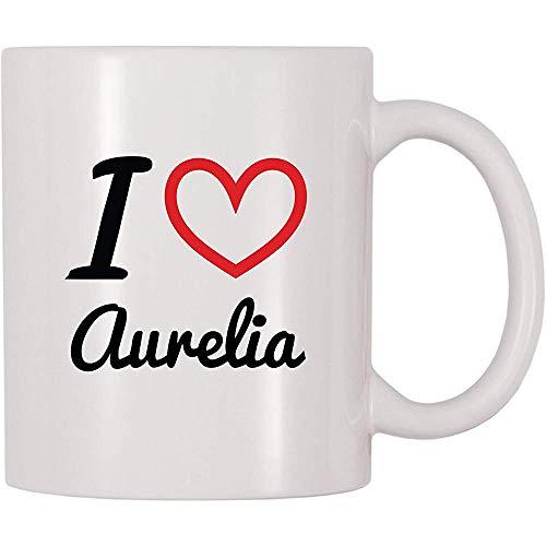 Ich liebe Aurelia-Kaffeetasse-Tee-Schale lustige Becher