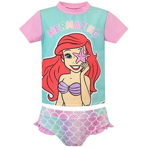 Disney Costume da Bagno per Ragazze a Due Pezzi The Little Mermaid La Sirenetta Multicolore 4-5 Anni