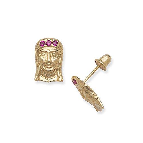 Or jaune 14 carats avec zircone rouge visage de Jésus Dore cone Spikes Screwback-Boucles d'oreilles Dimensions : 12 x 8 mm-JewelryWeb