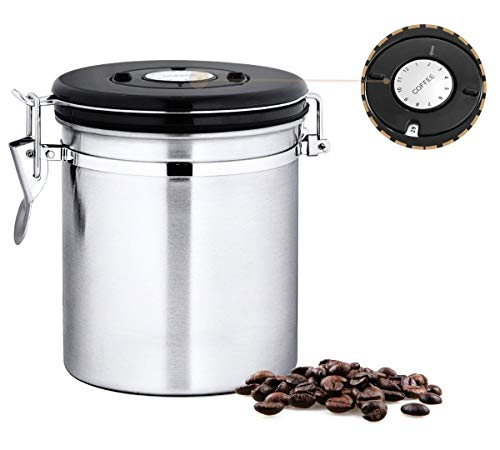 Stainless Steel Coffee Container Airtight with Built-in CO2 Gas Vent Valve and Date Tracking Wheel for Tea, Sugar and Cereal, 16 oz By Chef's Star