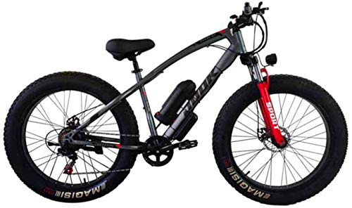 Electric Bikes, Electric Bicycle Lithium Battery Fat Tires Instead of Mountain Bike Adult Wide Tires Boost Cross-Country Snow,Gray,E-Bike