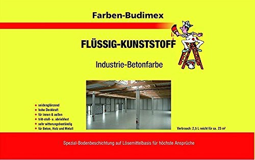 Farben-Budimex Flüssigkunststoff Industrie-Betonfarbe farblos / 2,5 L / zum Versiegeln u. Beschichten von Beton, Holz u. Metall / tritt-stoß- u. abriebfest / für höchste Ansprüche