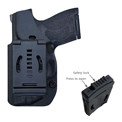 M&P Shield 9mm Holster OWB Kydex for Smith & Wesson M&P Shield 9mm / .40 M2.0 - with Integrated Laser Pistol Case - M&P Shield Holster OWB with Laser - Outside Waistband Carry 1.5-2 Inch Belt Clip