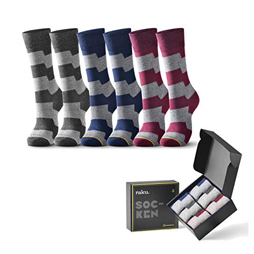 raku. Herren Business Socken 6 Paar Classic Atmungsaktive Baumwolle Komfortbund, Ideal für Business Freizeit Arbeitssocken Anzug-Geschenkpack(Wellen,43-46)