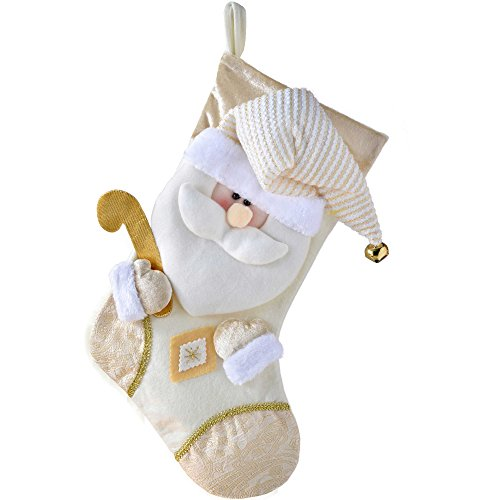WeRChristmas - Calza di Natale con decorazione 3D a forma di testa di Babbo Natale, 48 cm, bianco panna/oro