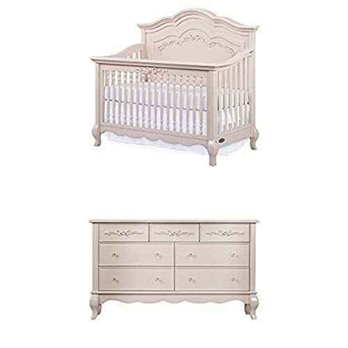 Product Image of the Evolur Aurora 5-in-1 Convertible Crib, Blush Pink Pearl with Drawer Double...