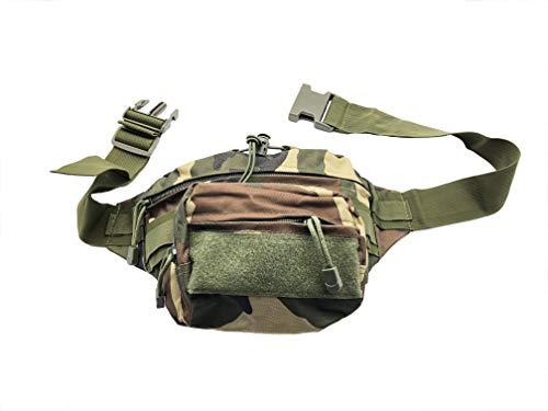 Taktische Militär Bauchtasche / Hüfttasche mit 2-Fächern - Farbe: Wald Grün Beige Braun (Woodland Tarnung) - für z.B. Dokumente, Kompaktkamera, Stift, Smartphone etc. - Abmessung LxBxH: 21x11x14 cm