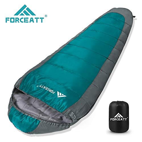 Forceatt Mumienschlafsack - Tragbar,Anwendbare Temperatur:41 °F - 68 °F, Wasserdicht,Leicht und Dünn,Mit dem Komfort Eines Kompressionssacks - Ldeal für Camping im Freien, Rucksacktouren,Wanderungen