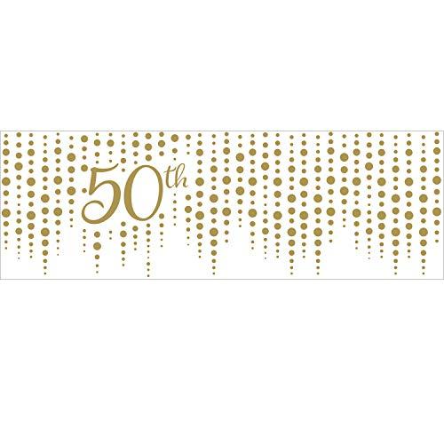 Creative Converting 340542 Sparkle and Shine Gold - Bandera de 50 aniversario, plástico