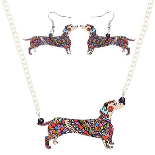 Sistemas De La Joyería De Acrílico Pendientes del Collar De Perro Gargantilla Collar Joyería De Moda For Mujeres De La Muchacha Joyas LIYDEG (Color : Brwon)