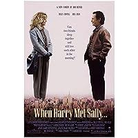 Weuewq ハリーがサリーに会ったとき映画ポスターキャンバス絵画背景壁アート写真装飾リビングルームホームギフト-20X28インチフレームなし