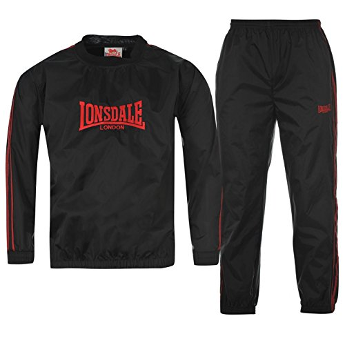 Lonsdale Herren Extra Leicht Sauna Sweat Trainingsanzug Sportshirt Sporthose Schwarz Small