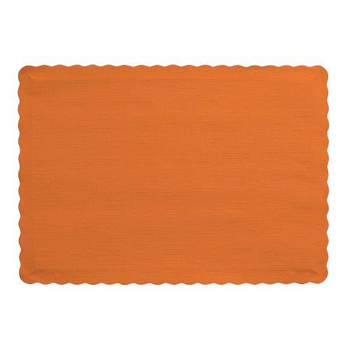 Creative Converting 50 manteles individuales de papel con purpurina dorada, Sunkissed anaranjado, 1