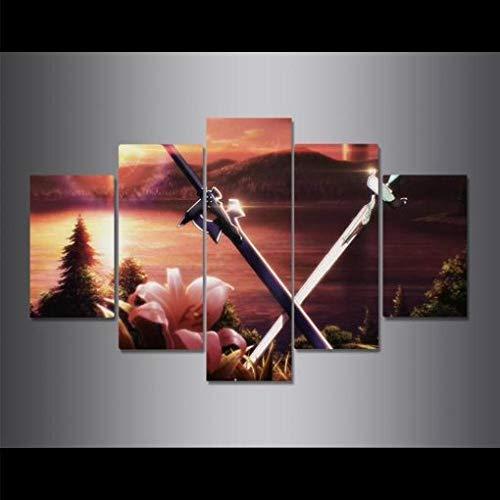 """baixiangguo Sword Art Online Doble Cuchillo Anime Cuadro En Lienzo Moderno De 5 Piezas, Impresión En Lienzo HD, Imagen Artística para Pared, Póster, Decoración del Hogar (con Marco) -60""""W X 32"""" H"""