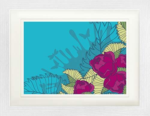 1art1 Fleurs Poster De Collection Encadré - Roses Fuchsia (40 x 30 cm)