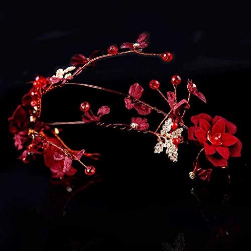 JYDQM Taburete Hecho a Mano Vine Rojo Cabello Diadema de la Boda Simulación Flower Blanco de Pelo Joyería de Pelo de Novia Accesorio