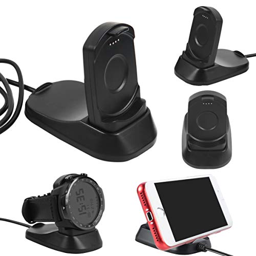 LICHIFIT 2 en 1 Cargador USB Base de carga Soporte para TicWatch Pro Bluetooth Smart Watch