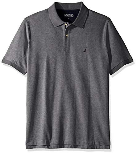Nautica Men's Classic Fit Short Sleeve Solid Performance Deck Polo Shirt, Charcoal Heather, 4X Big