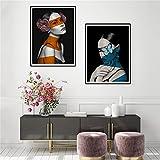 Kingkoil Nórdico Floral Mujer Mariposa Cubierta Ojos Cuadros Abstracto Lienzo Pintura Pared Arte Lienzo Cartel Impresión Imagen Decoración Del Hogar 60x90cm NoFramed