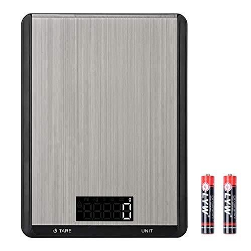 ZCZN Balance de Cuisine, Toplife Balance Cuisine Electronique 5kg / 1g en Acier Inoxydable Tactile Sensible Écran LCD Rétro-éclairé Fonction de Tare, 7 Unités de Mesure avec Conversion à 1 Bouton