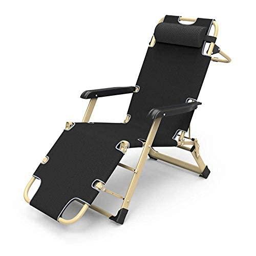 FVGBHN Reclinable reclinable plegable de gravedad cero, reclinable plegable, reclinable de ocio, sillón reclinable de jardín, sillón plegable acolchado, peso máximo 180 kg, color negro