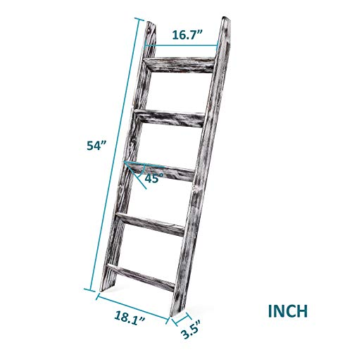 N\A Blanket Ladder - 4.5 Ft Wood Rustic Decorative Quilt Ladder Stand, Wall-Leaning White Vintage Wooden Throw Blanket Rack Holder