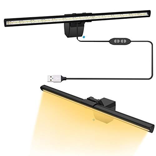 Jooheli Computer Monitor Lampe LED USB Dimmbar, 3 Farbtemperatur Anpassen, USB Büro Lampe Augenpflege Leuchte für Notebook Bildschirmlampe für Home Office, Dimmbarer Einstellbarer Helligkeit