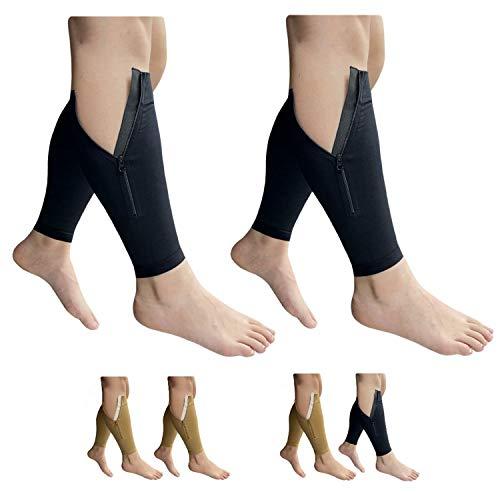 HealthyNees - Espinilleras sin pie de 20 a 30 mmHg con cremallera para piernas, 2 pares de mangas, 5XL, Combo Negro