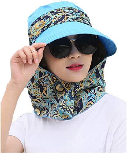 Gaocheng 2-in-1 dames brede rand zonnehoed opvouwbare zonneklep UPF 50+ UV bescherming zomer strand hoed met afneembare hals beschermkap opvouwbare reizen vakantie strand fietsen vishoed