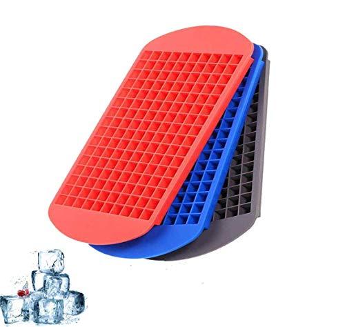 Blugonz (3 Sätze) 160 Gitter Eiswürfelform Quadratisches Silikon, Mini Eiswürfelbehälter Küchenbar kleine eiswürfelform 4.3 x 6.7 Zoll-Farbmischung
