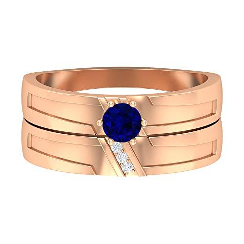 Anillo de compromiso de oro de 14 quilates con diamante de 1/4 quilates con piedra natal de septiembre, solitario en forma redonda de 4 mm, Metal, Diamond Blue Sapphire,