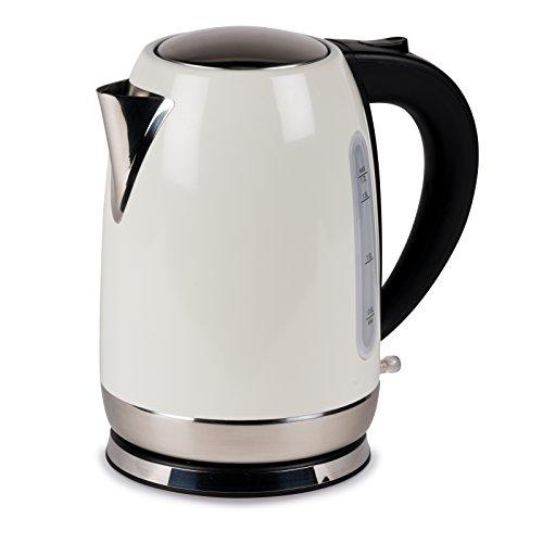 #0618 Kompakter, kabelloser Camping Wasserkocher 1,7 Liter in Creme nur 1000W • Edelstahl Tee Kessel Wasserkessel Küche Outdoor 1,7L Creme