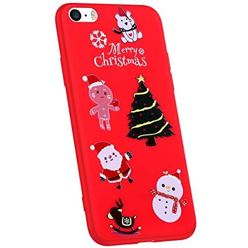 Jinghuash Compatibel met iPhone 5S / iPhone SE beschermhoes rood siliconen Weihnachtsbaum