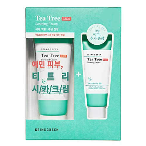 BRING GREEN Tea Tree Cica Soothing Cream 100ml (3.4 fl.oz.) + Cream 40ml (1.4 fl.oz.) Set - Tea Tree & Centella Asiatica Facial Soothing Gel Cream, Sebum Control for for Acne-Prone & Troubled Skin