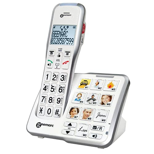 Geemarc AmpliDECT 595- Teléfono fijo inalámbrico Senior con contestador sencillo | teclas grandes SOS Fotos Memorias con Disfunción Visualizadora |+50 dB Compatible con los dispositivos auditivos