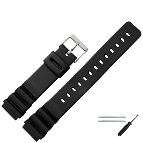 MARBURGER Uhrenarmband 18mm Kunststoff Schwarz - Werkzeug Montage Set 9601870300520
