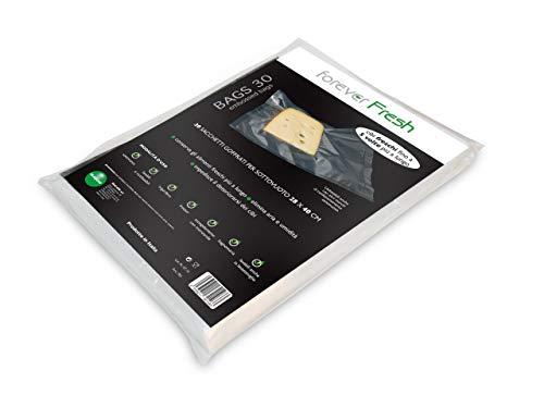 Macom Fresher Forever Fresh 701. Confezione di 30 Sacchetti Goffrati per la Conservazione Sottovuoto Alimenti, 28 x 40 cm, Plastic