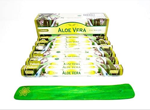 varitas de Incienso de Aloe Vera ALOEVERA varitas de Incienso de Joss 120 Varillas de Incienso de Fragancia casera de Joss Sticks con cenicero colector de Cenizas