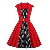 Patchwork Dot Impreso Vestidos de Mujer Botón sin Mangas Cinturón Retro Elegante Fiesta Rock Swing A...