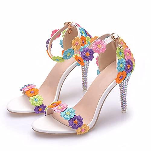 YIZHIYA Zapatos de Novia de Mujer,9CM Sandalias de tacón Alto con Flores...