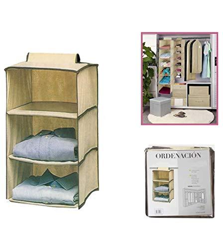 Dabuty Online, S.L. Organizador para Colgar en el Armario u hogar con 3 estantes. Medidas 30 x 30 x 60 cm. Zapatero, Organizador de Ropa.