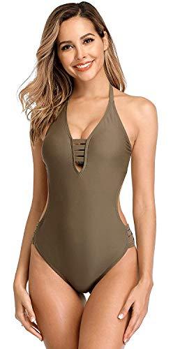 Anwell Damen Einteilig Bademode Tummy Control Bauchweg Badeanzug Schwimmen Bekleidung Grün M