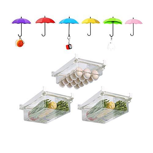 Pack de 3 Refrigerador cajón colgante de huevo bandeja extraíble, Frigorífico Organizador Claro Retangle Caja de almacenamiento del estante del refrigerador titular de huevo vegetales de frutas