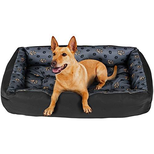 SuperKissen24 Hundebett Hundekorb Hundesofa Tierbett für Kleine, Mittlere und Grosse Hunde - Waschbar - Größe L - Schwarz und Grau - Pfoten