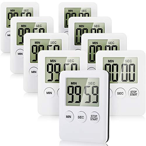9 Stücke Digitaler Küchentimer mit Alarm Erinnerungsfunktion Magnetischer Countdown und Countdown mit Großem LCD Display zum Kochen, Fitness, Lernen, Einfache Bedienung Geeignet für Kinder Menschen
