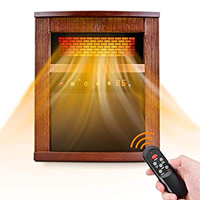 Infrared Heater, Space Heater with 3 Heating Modes, Remote Control, and Timer, Electric Heater with Overheat & Tip-Over Shut Off Protection, Heater for Large Room, Low Noise, Wood Cabinet, Brown