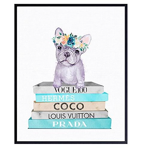 French Bulldog Decor - Tiffany Blue Dog Wall Art - French Bulldog Gifts - Coco, Prada, LV Wall Decor - Dog Wall Decor - Glam Wall Art - Cute Dog Lover Gifts - High Fashion Design - Designer Wall Art