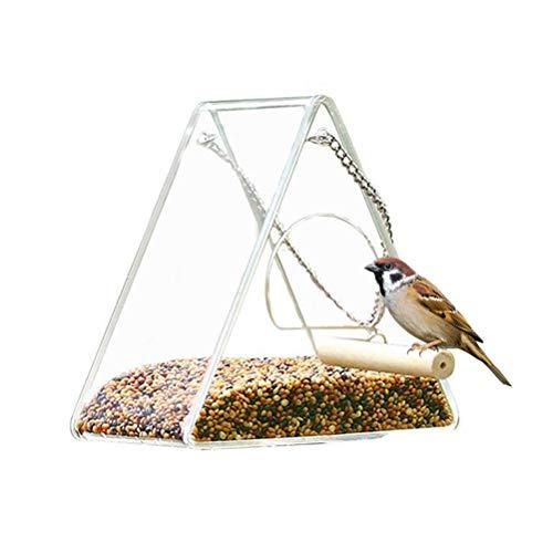 Vogelfutterhaus, Fenster Vogelfutterspender Acryl Runden Futterspender Für Wildvögel, Vogel Food Box Futterhaus-Futterstation Transparent(Dreieck)