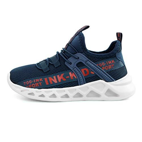 Zapatos para Niño Zapatillas Deporte Niño Transpirables Caminar Bambas para 4-12 Niño (Etiqueta 31, Azul)