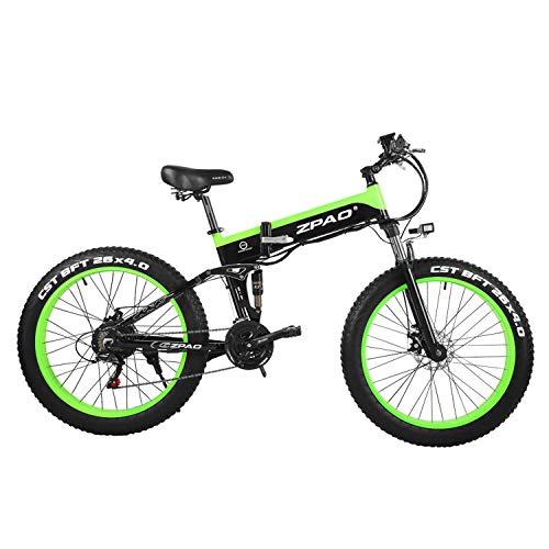 ZPAO Mountain Bike Pieghevole da 26 Pollici, 48V, 500W, Bici elettrica da 4,0 Pneumatici, Manubrio Regolabile, Display LCD con Presa USB (Black Green, 12.8Ah + 1 Batteria Ricambio)